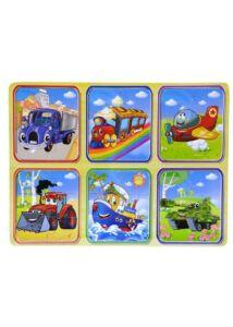 Fa puzzle - Járművek 6 db-os